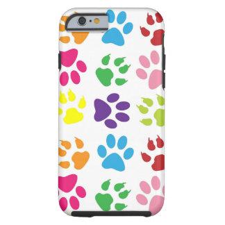 La pata dura del gato del arco iris del caso del funda para iPhone 6 tough