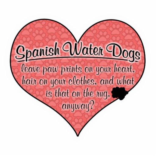 La pata española del perro de agua imprime humor adorno fotoescultura