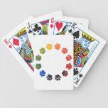 La pata imprime el círculo baraja de cartas