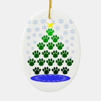 La pata imprime el ornamento del árbol de navidad ornamento de navidad