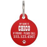 La pata imprime el rojo personalizado placa para mascotas