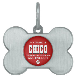 La pata imprime el rojo personalizado placas de mascota
