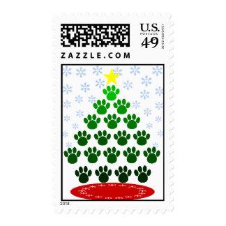 La pata imprime franqueo del árbol de navidad sello