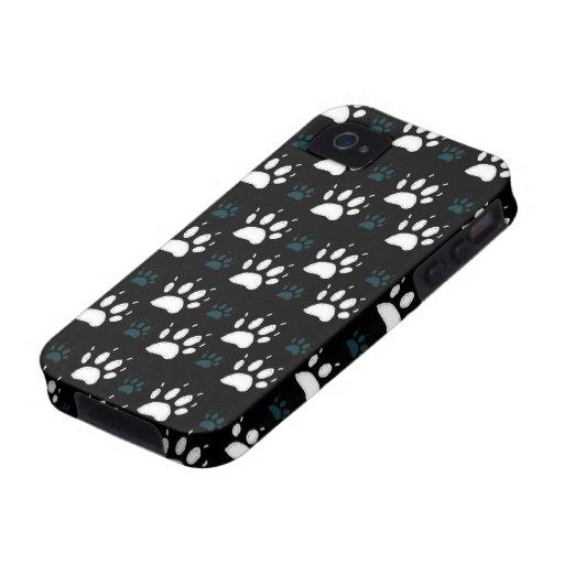 La pata imprime [la oscuridad] Case-Mate iPhone 4 fundas