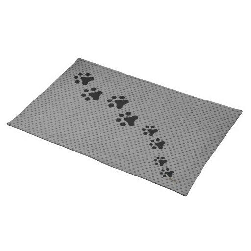La pata imprime Placemat (el polkadot gris) Mantel