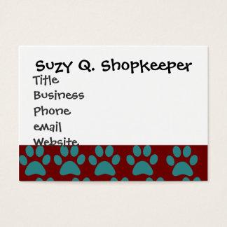 La pata linda del perro de perrito imprime el azul tarjetas de visita grandes