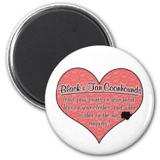 La pata negra y del moreno del Coonhound imprime h Imán Redondo 5 Cm