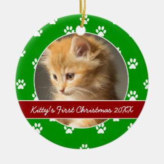La pata roja y verde imprime el primer navidad del adorno navideño redondo de cerámica
