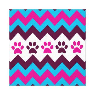 La pata rosada del perrito del trullo de Chevron Impresión En Lienzo