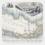 La Patagonia, de una serie de mapas del mundo Pegatina Cuadradas Personalizada