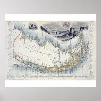 La Patagonia, de una serie de mapas del mundo publ Póster