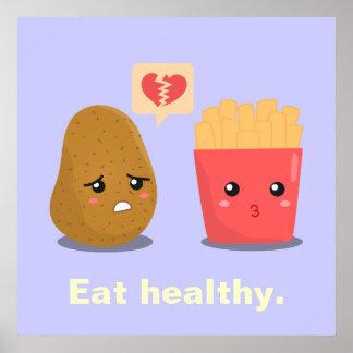 La patata es corazón roto sobre las patatas fritas póster