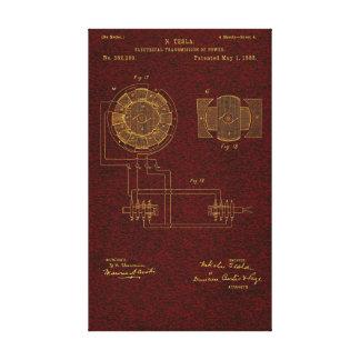 La patente 00382280 Sht 4 de Tesla estiró la impre Lienzo Envuelto Para Galerías