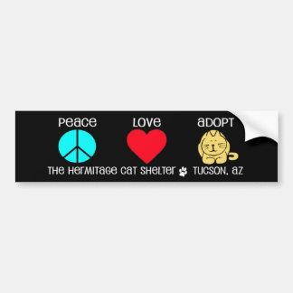 La paz amor adopta a la pegatina para el paracho pegatina de parachoque