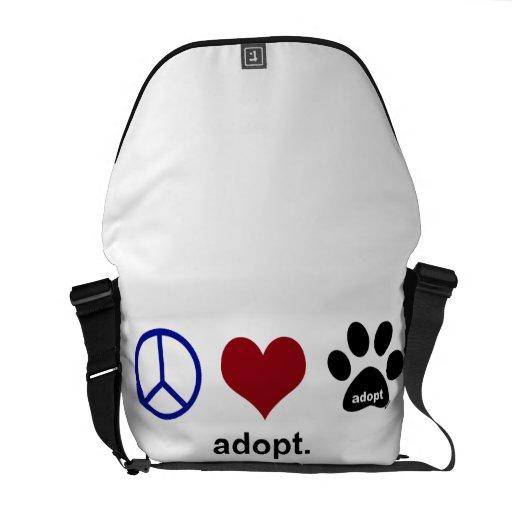 La paz, amor, adopta bolsa messenger
