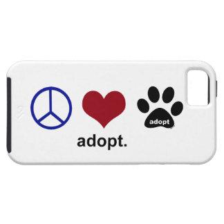 La paz amor adopta iPhone 5 Case-Mate fundas