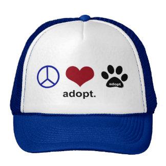 La paz, amor, adopta gorro de camionero