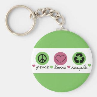 La paz, amor, recicla llavero redondo tipo pin