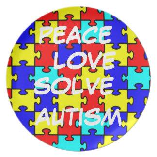 La paz, amor, soluciona la placa del autismo plato de cena