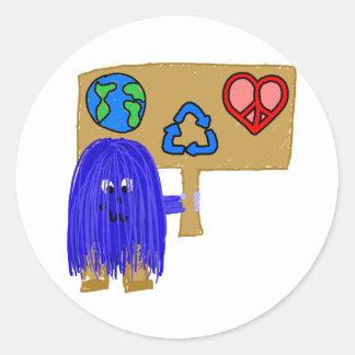 la paz azul del amor de la tierra recicla pegatina redonda