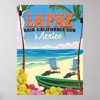 La Paz Baja California Sur Mexico travel poster