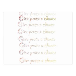 La paz, da a paz una oportunidad postales