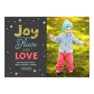 """La paz de la alegría y ama la tarjeta de la foto invitación 5"""" x 7"""""""