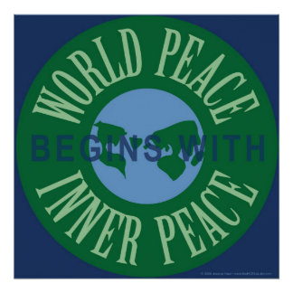 La paz de mundo comienza con el poster interno de