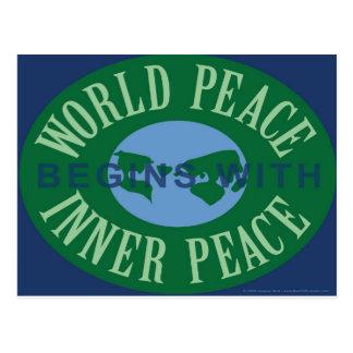 La paz de mundo comienza con la postal interna de
