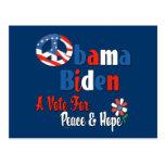 La paz de Obama Biden y espera la copia 2008 Tarjeta Postal