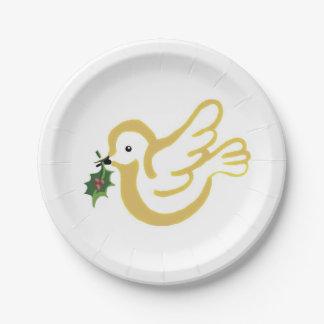 La paz de oro del navidad se zambulló con acebo plato de papel de 7 pulgadas