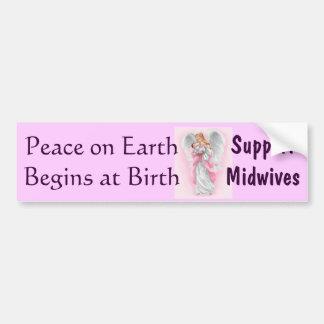 La paz en la tierra comienza en el nacimiento, par pegatina para auto