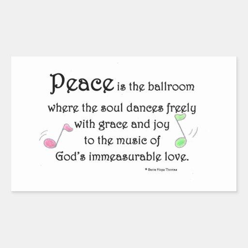 la paz es el salón de baile rectangular pegatina