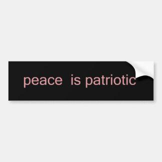 La paz es patriótica pegatina para auto