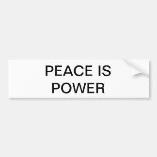 La paz es pegatina para el parachoques del poder pegatina para auto