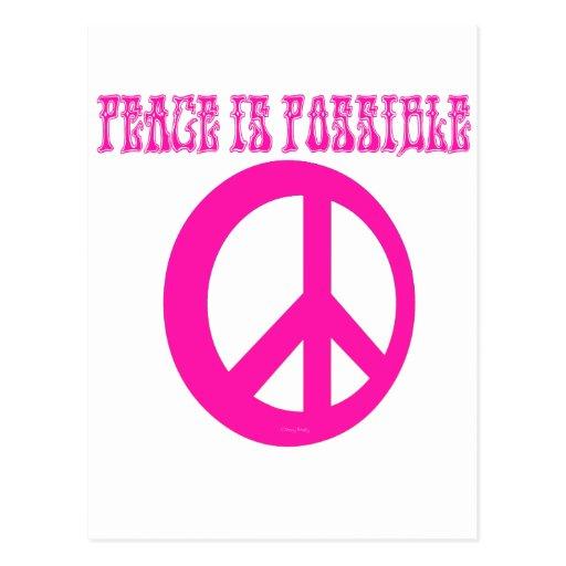 La paz ES posible (el rosa) Postales