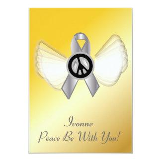 La paz esté con el cáncer de cerebro de YouLung Invitación 12,7 X 17,8 Cm