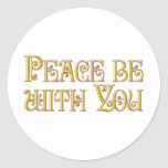 La paz esté con usted etiquetas redondas