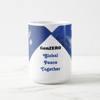 La paz global junta asalta la paz de mundo de taza