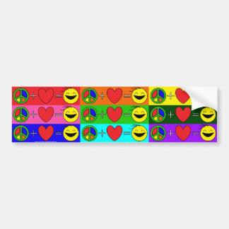 La paz más amor iguala la felicidad (arco iris pegatina para auto