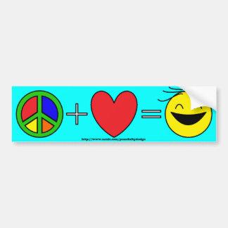 La paz más amor iguala la felicidad (azul clara) pegatina para auto