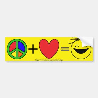 La paz más amor iguala la felicidad (el amarillo) pegatina para auto