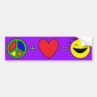La paz más amor iguala la felicidad (púrpura) pegatina para auto