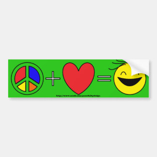 La paz más amor iguala la felicidad (verde clara) pegatina para auto