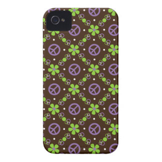 La paz n florece la casamata Purple Gr del iPhone iPhone 4 Case-Mate Cárcasa