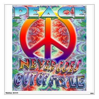 La paz nunca sale de etiqueta de la pared del esti