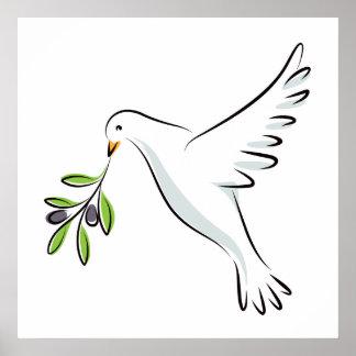 La paz se zambulló con la rama de olivo póster