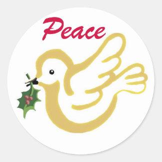 La paz se zambulló con un deseo del navidad pegatina redonda