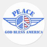 La paz tiene alas etiquetas redondas