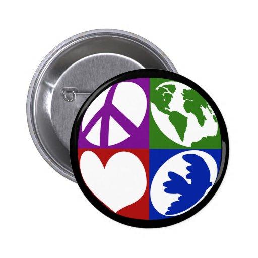 La paz, tierra, amor, se zambulló botón pin